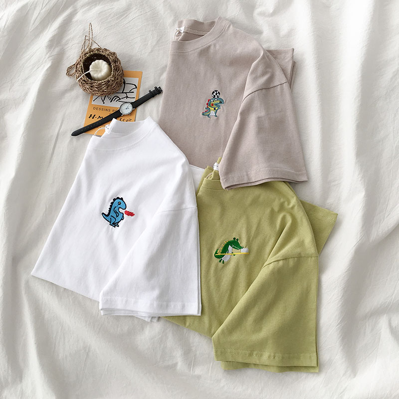 dinosaur embroidery sympathy summer 2019 new women's wear Korean version short sleeve <font><b>T</b></font>-shirt o-neck collar office lady image