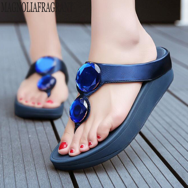 flip-flops Summer rhinestone wedge heel thick bottom beach women's slippers Non-slip platform shoes Casual woman sandals c481