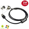 New 2 In 1 Dual USB 1M Endoscope Inspection Camera 5.5mm Ultra Slim Android PC USB Borescope IP67 Waterproof Camera with 6 LEDs