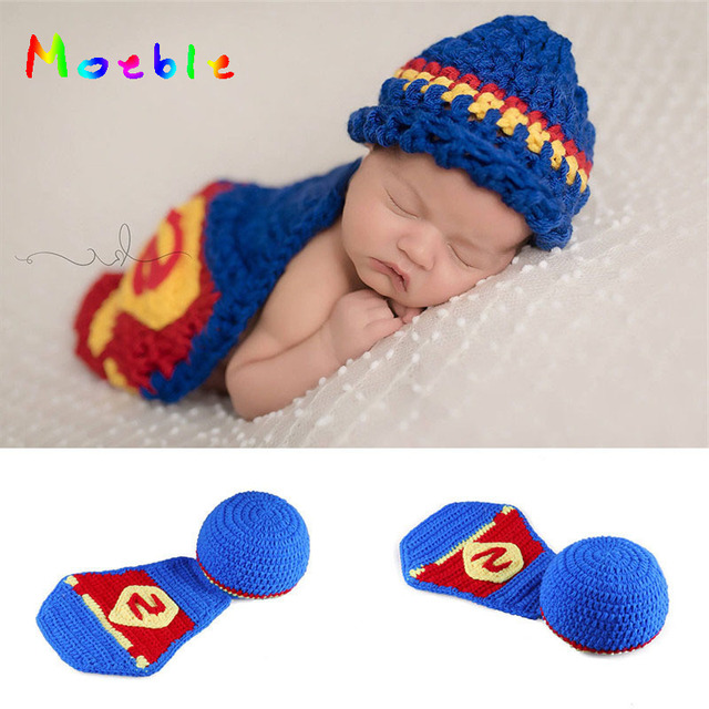 b96733fc20b 2018 Crochet Baby Superman Hat and Cape Set Knitted Newborn Boys Super Hero  Costume Photography Props Infant Baby Fancy Outfist