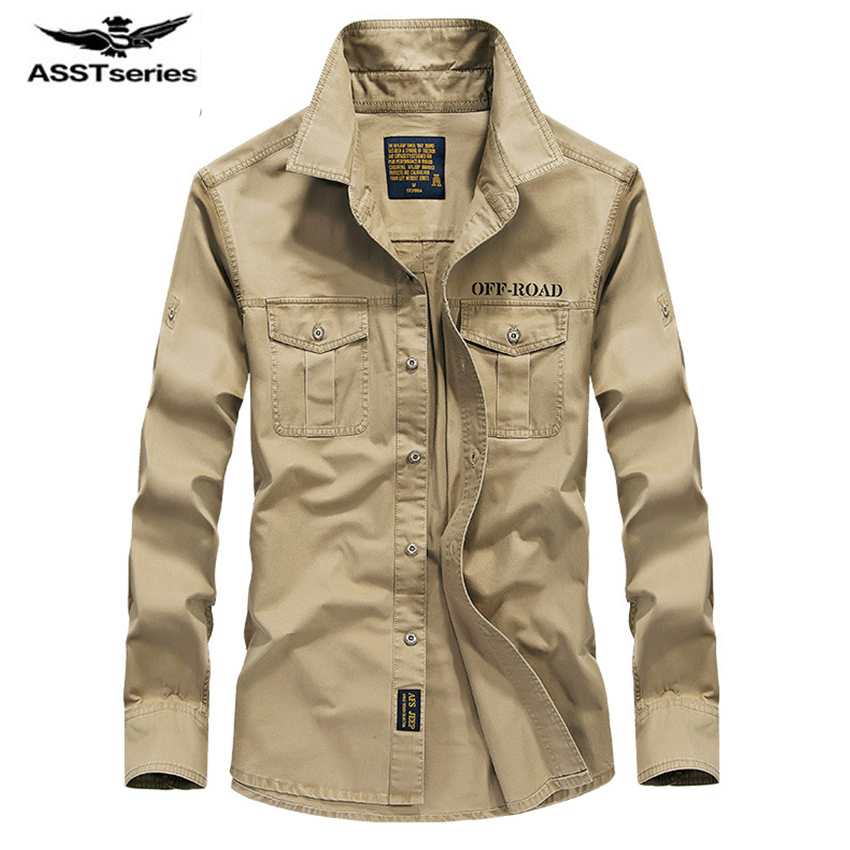 Free shipping AFS Jeep Long Sleeve Shirt Male Winter Big Size Mens Cotton Shirt Solid color plus cashmere coat S-4XL Z118