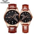 Los hombres Relojes de Lujo Superior GUANQIN Mujeres de La Manera A Prueba de Choques Impermeable Deporte Reloj de cuero Reloj de Cuarzo del Amante Del Diamante Relojes de Pulsera