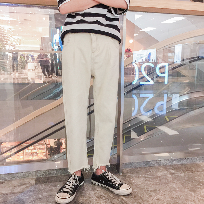 2018 Solar Wind Summer New Pattern Nine Part Pants Jeans Directly Canister Male personality city boy trend casual Free shipping