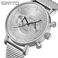 GIMTO Stainless Steel Mens Watches Top Brand Luxury Sport Watch Men Waterproof Business Quartz Watch Military