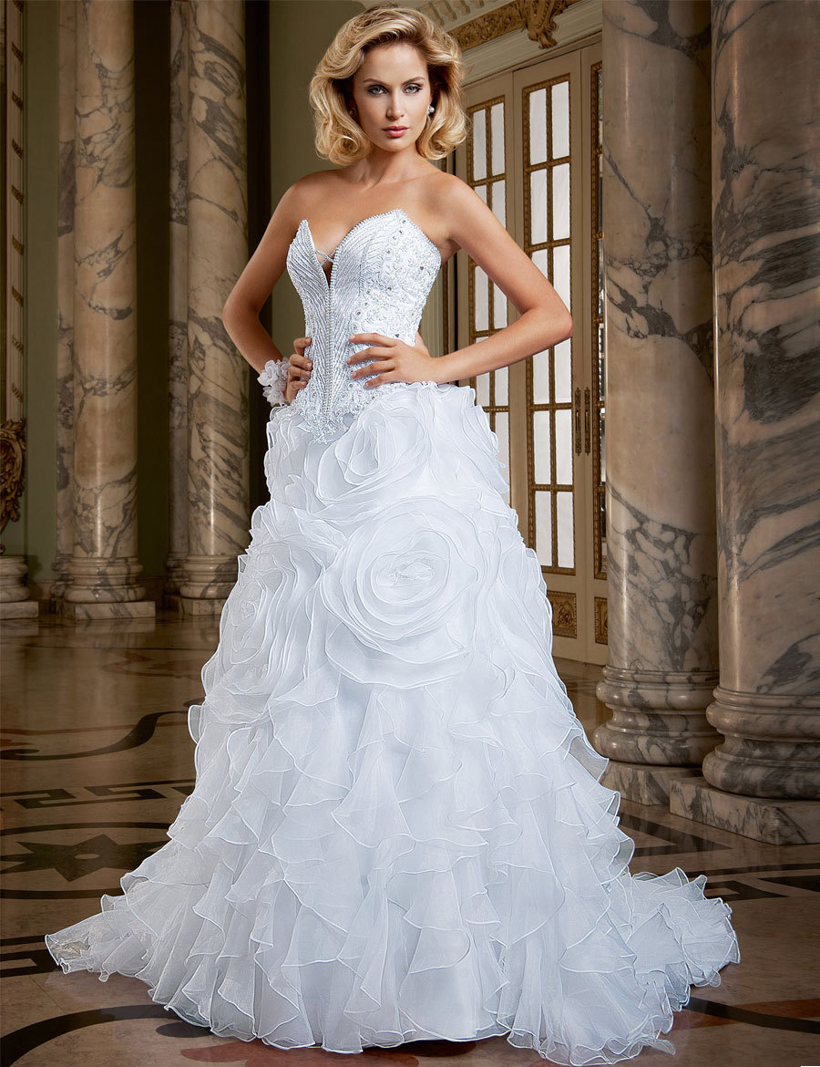 Most Beautiful Ball Gown Sweetheart Vestido de noiva Organza Wedding ...