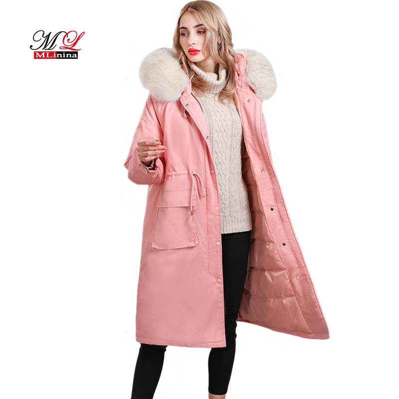 MLinina New Winter Women Down Jacket Warm High Quality Woman Down Long   Parka   Coat Female Thickening One Size Outerwear Snow Wear