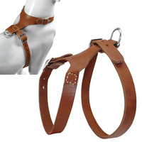 Free Shipping Handmade Brown Color Real Genuine Leather Dog Harness For More Breeds M L Sizes
