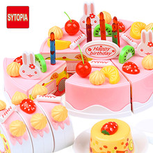 Birthday Cake Sets DIY Toy Kitchen Food Plastic Pretend Play Toy Model Children Kids Early Educational Classic Toy(China)