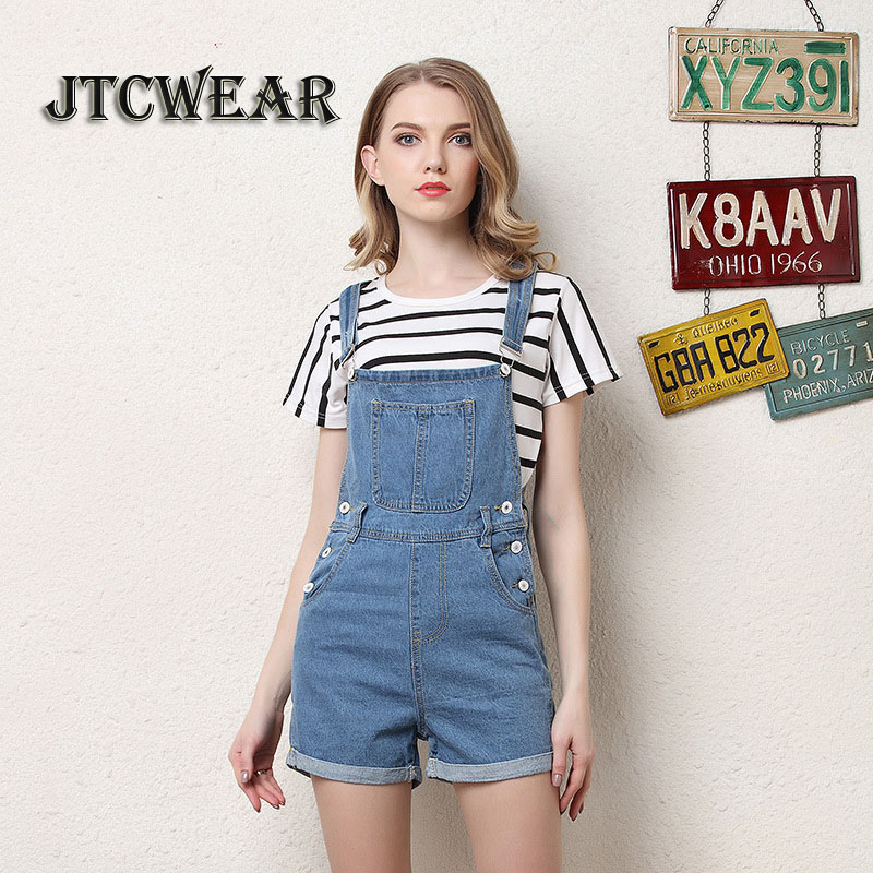 JTCWEAR Young Lady Cute Bib Dungarees Woman Spaghetti Denim Shorts Suspenders Jumpsuits  ...
