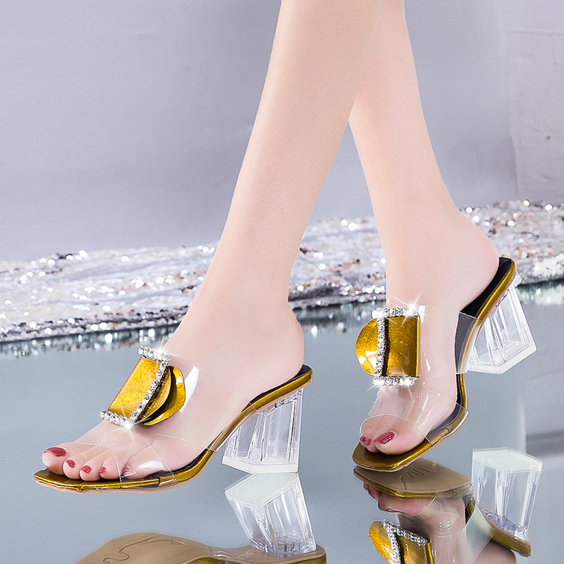 Clear Summer Slippers Women Shoes Woman Mules Metal Buckle Slides Peep Toe Transparent Square High Heels Slippers Female Shoes