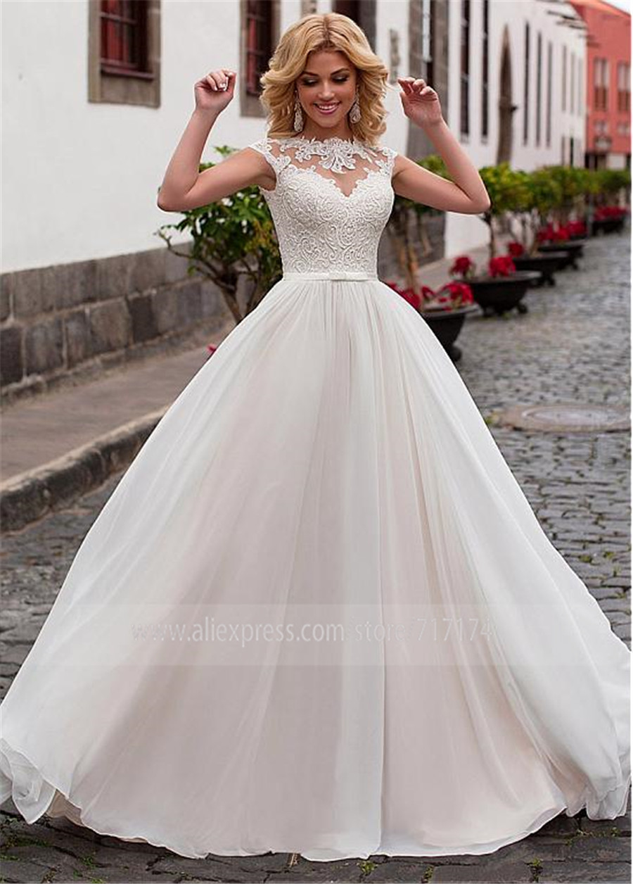 Image 2 - Charming Chiffon Jewel Neckline A Line Wedding Dress With Lace Appliques & Belt Lace Up Bridal Dress vestidos de 15-in Wedding Dresses from Weddings & Events