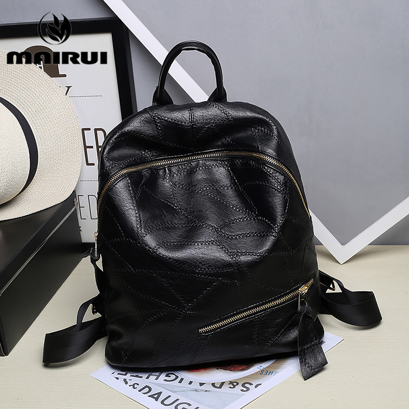 Women Simple Style Backpack Waterproof Vintage Fashion PU Leather Black School Bag for Girls Shoulder Travel