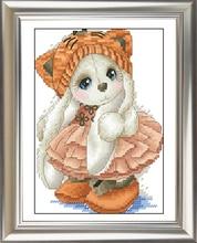 Needlework, DIY Cross Stitch, uppsättningar för broderi kit, 11CT & 14CT, liten tiger kanin