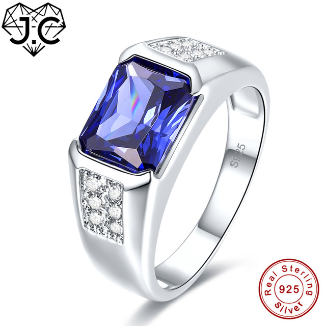 J.C kobiety mężczyźni w stylu Vintage projekt luksusowe niebieski szafir i tanzanit i biały Topaz 925 Sterling srebrny pierścień rozmiar 7 8 9 10 Fine Jewelry