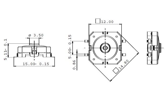 50 pièces/100 pièces RAFI SMD RACON 12 allemagne 12*12*5mm 12*12mm lumière tactile interrupteur SMT kone bouton de levage 1.14.001.503/0000 - 4