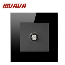 MVAVA Satellite TV Sokcet  Smart Home Hotel Black Crystal Glass Cable Television Outlet Wall Socket Free Shipping