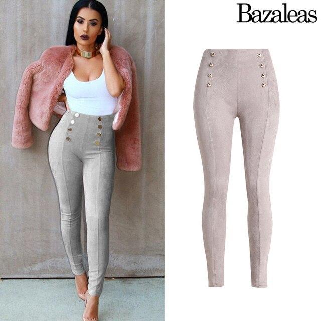 2017 весна Bazaleas Сексуальная высокая талия брюки женщины 5 цвет Натяжные Карандаш джинсы Вскользь Уменьшают Подходящие Тощие Брюки Повседневные брюки