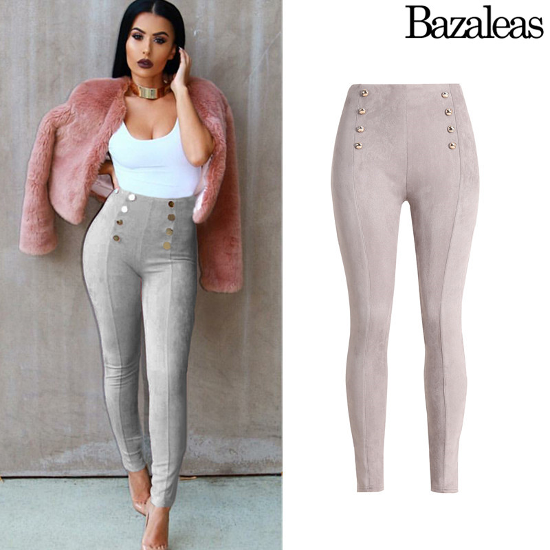 2017 spring Bazaleas Sexy high waist pants women 5 color Stretch Pencil jeans Casual Slim Fit Skinny Trousers Casual pants 2017 new jeans women spring pants high waist thin slim elastic waist pencil pants fashion denim trousers 3 color plus size