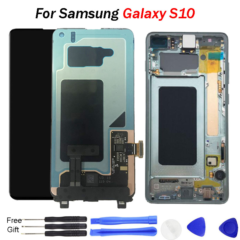 Super AMOLED For <font><b>Samsung</b></font> <font><b>S10</b></font> <font><b>LCD</b></font> Display 2019 Touch <font><b>Screen</b></font> Digitizer Assembly Replacement <font><b>lcd</b></font> G9730 G973F Display image