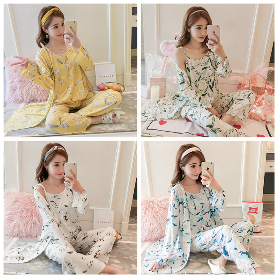 HTB1mmDebRSD3KVjSZFqq6A4bpXas - JULY'S SONG Woman Pajamas Set Sling Cotton Pajamas 3 Peices Sleepwear For Women Long Sleeves Breathable Sexy Robe Homewear