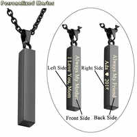 Personalized Master Personalized Four side Engrave Customized Unisex Stainless Steel Message Names vertical bar Pendant Necklace