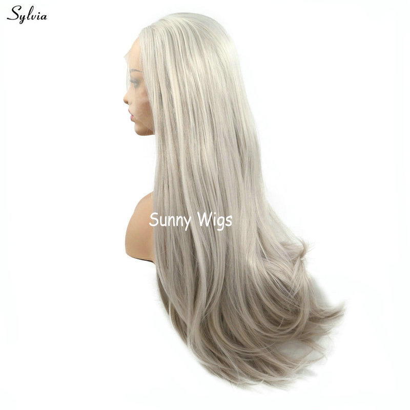 Nice Sylvia Natural Hairline High Temperature Straight Long Synthetic Hair Ash Blonde Middle Part Handmade Lace Front Wigs For Women Pretty And Colorful Hair Extensions & Wigs Synthetic None-lacewigs