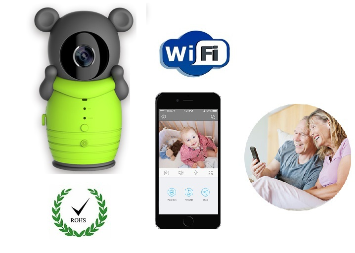 Cute Cartoon Bear Pouch Digital Wireless Wifi Baby Monitor IP Camera for iOS Android Smartphone Support Nightvision Intercom ...