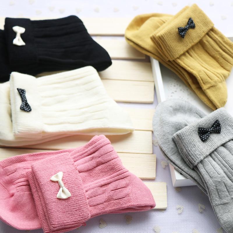 5 Pairs/Lot Students Japan Harajuku Bowknot Solid Rainbow Color Cotton Thick Winter Socks Women Knitting Breathable Sokken