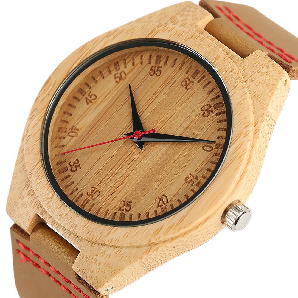 Bamboo Watch Carving Numbers Analog Simple Quartz Wristwatch for Men Women High Quality Wooden Clocks Gifts reloj de madera