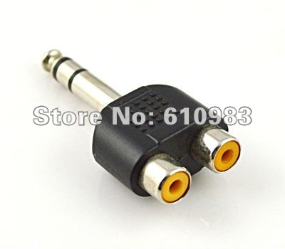 """Free shipping (5 pieces/lot)  6.5mm - RCA adapter 6.5mm 1/4"""" Stereo Audio Headphone male plug to 2 RCA female Jack connector"""
