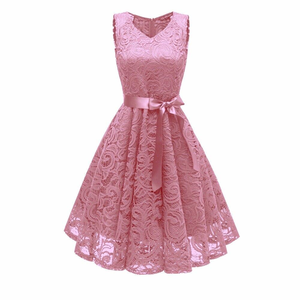 Female summer dress 2018 Vintage Floral Lace Pleated Dress V-Neck SLeeveless vestido Lace Retro Elegant Party vestidos de fiesta