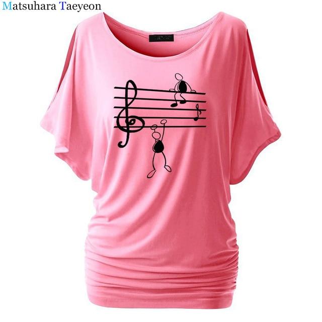 Music Notes Funny Printed T Shirt Women Summer Animal Short Sleeve Tshirts Harajuku T-Shirt Girl Casual Tops t shirt Brand 3