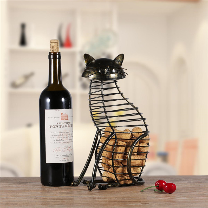 Metal Cat Figurines Wine Cork Container Modern Style Iron Craft Gift Artificial Animal Mini Home Decoration Accessories R472