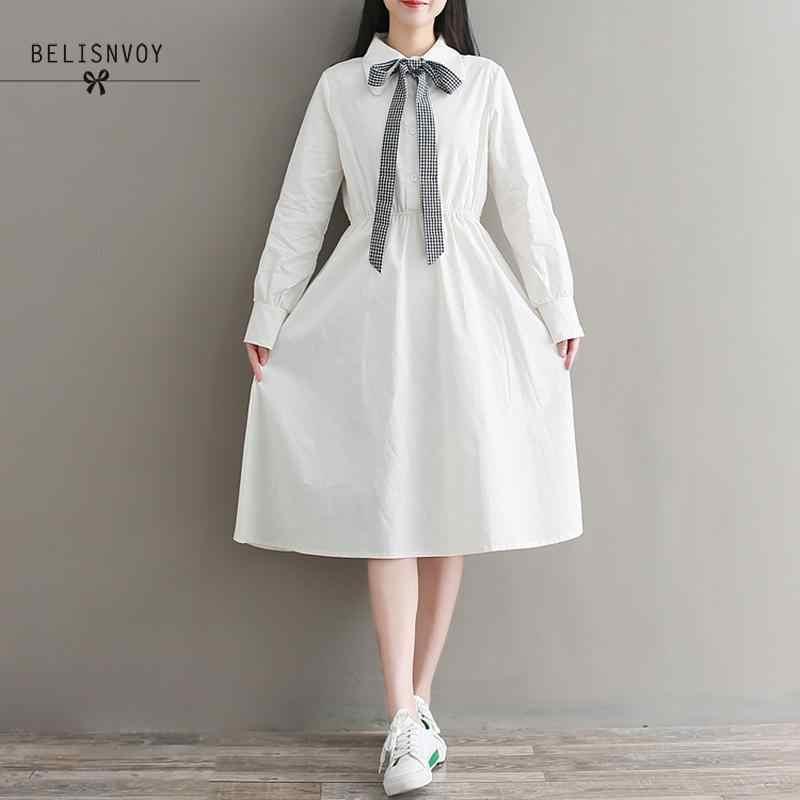 森ガール甘いドレス 2019 春の秋の女性長袖綿白弓女性のエレガントなミディ Vestidos