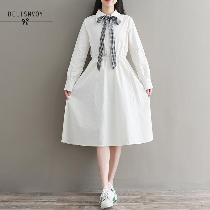 Mori Girl Sweet Dresses 2019 Spring Autumn Women Long Sleeve Cotton White Dress With Bow Female Elegant Midi Vestidos by Ali Express.Com