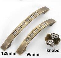 128mm Glass Crystal Pull Antique Brass Kichen Cabinet Handle Bronze Dresser Cupboard Drawer Furniture Handles Pulls