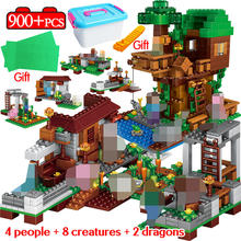 900PCS Technic Village The Tree House Building Blocks Compatible LegoING Minecrafted Sets Kits Figures Educational Toys For Kids(China)