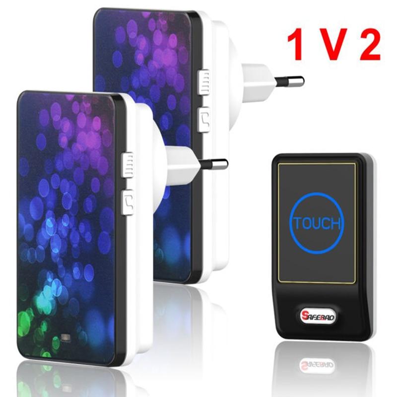 Plug-in Wireless Door Bell Waterproof EU Plug touch button 36 Chimes 1 Ourdoor Transmitter + 2 Indoor Receiver plug