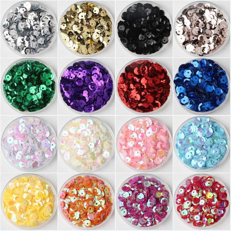 10g/Lot Multi Size 4mm/5mm/6mm/8mm Sequin PVC Round Cup Sequins Paillettes Sewing Wedding Crafts, Women Garments Accessories