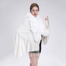 New spring Autumn women lady girl whole white fox fur collar shawl genuine fur bat coat shawl coat scarf Pashmina clothes shawl collar longline coat