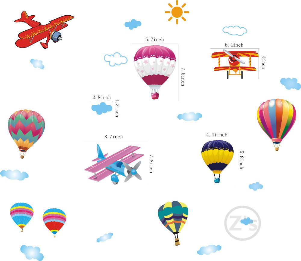 Free shipping Removable Airplane Sticker, Lovely Cartoon Balloons For Home Wall Decor of Kids Room image