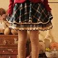 Xadrez bordados rendas na altura do joelho bonito kawaii japonês das mulheres curtas das mulheres um line feminino elegante lolita saia mori menina k020