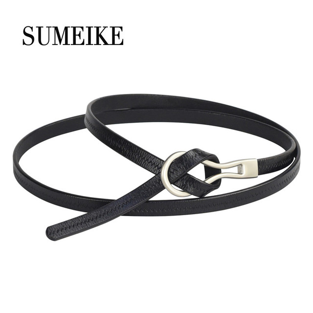 68ec5a524 [SUMEIKE] 100% Leather Belt For Women Thin Ladies Fashion Waist Belt For Dress  Woman Strap