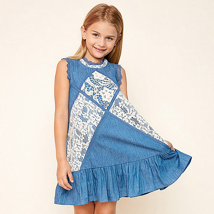 4314 Lace Striped Teens Girls Dress 7-14Y A-line Sundress Kids Dresses For Girls Summer Dress Wholesale Baby Girl Clothes 4PLot luoyamy 2018 girls candy color a line dress baby kids spring summer shoulder less dress children striped patchwork dresses