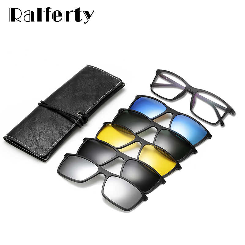 81026b59c4 ... Ralferty Multiclip Glasses Frame Clip On Magnetic Sunglasses Men Women  Polarized Sunglases Square Sun Glasses Prescription ...