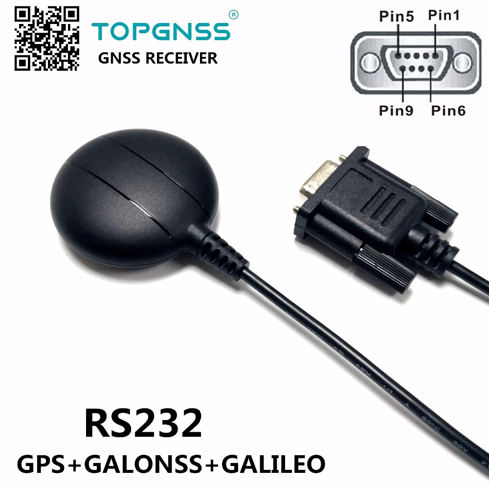 Industrial application RS232 DB9 female connector RS-232 GNSS receiver dual GPS/GONASS/GALILO receiver module antenna GNSS200GR rs232 gps module rs232 gnss chip gps module antenna receiver with cirocomm antenna rs 232 level with flash