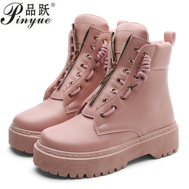 e1e4a335fec Zip Flat Ankle Boots Women PU Leather Motorcycle Boots Platform Martens  Boots Fall Winter Shoes Woman Booties 35--40