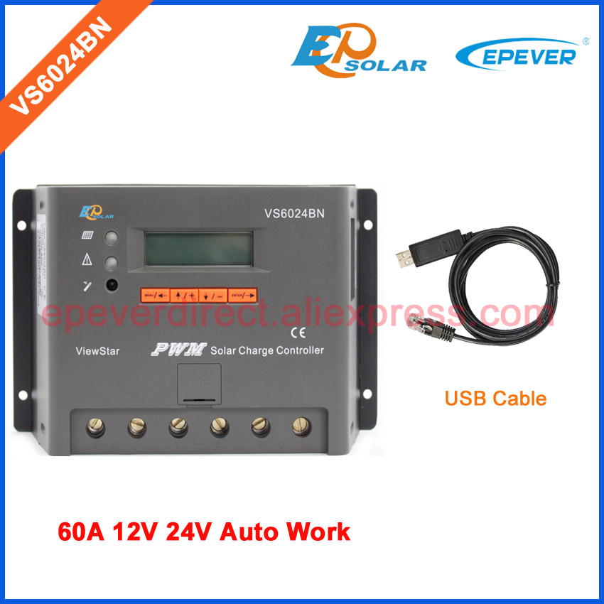 VS6024BN PWM EPEVER Solar Battery charger regulator 60A with USB cable connect PC 60amp 12v 24V auto work system vs6024bn 60a pwm controller network access computer control can connect with mt50 for communication