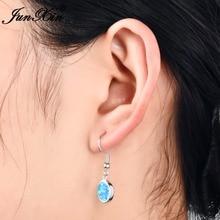 JUNXIN Boho женские белые/синие огненные опаловые серьги, модные 925 пробы, заполненные серебром, Длинные Винтажные серьги, серьги для женщин