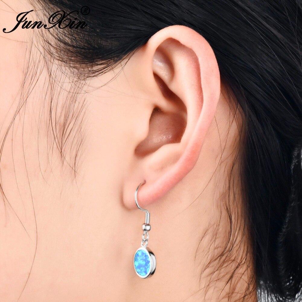 Women Vintage Boho Moon Opal Earrings 925 Sterling Silver Drop Dangle Jewelry